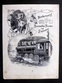 Watercolour C1880 Brotherhood of Locomotive Firemen and Enginemen Railroad Train